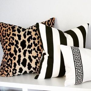"2 pack black white bold stripe pillow covers 18"""